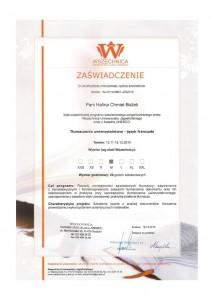certyfikat od wszechnicy UJ
